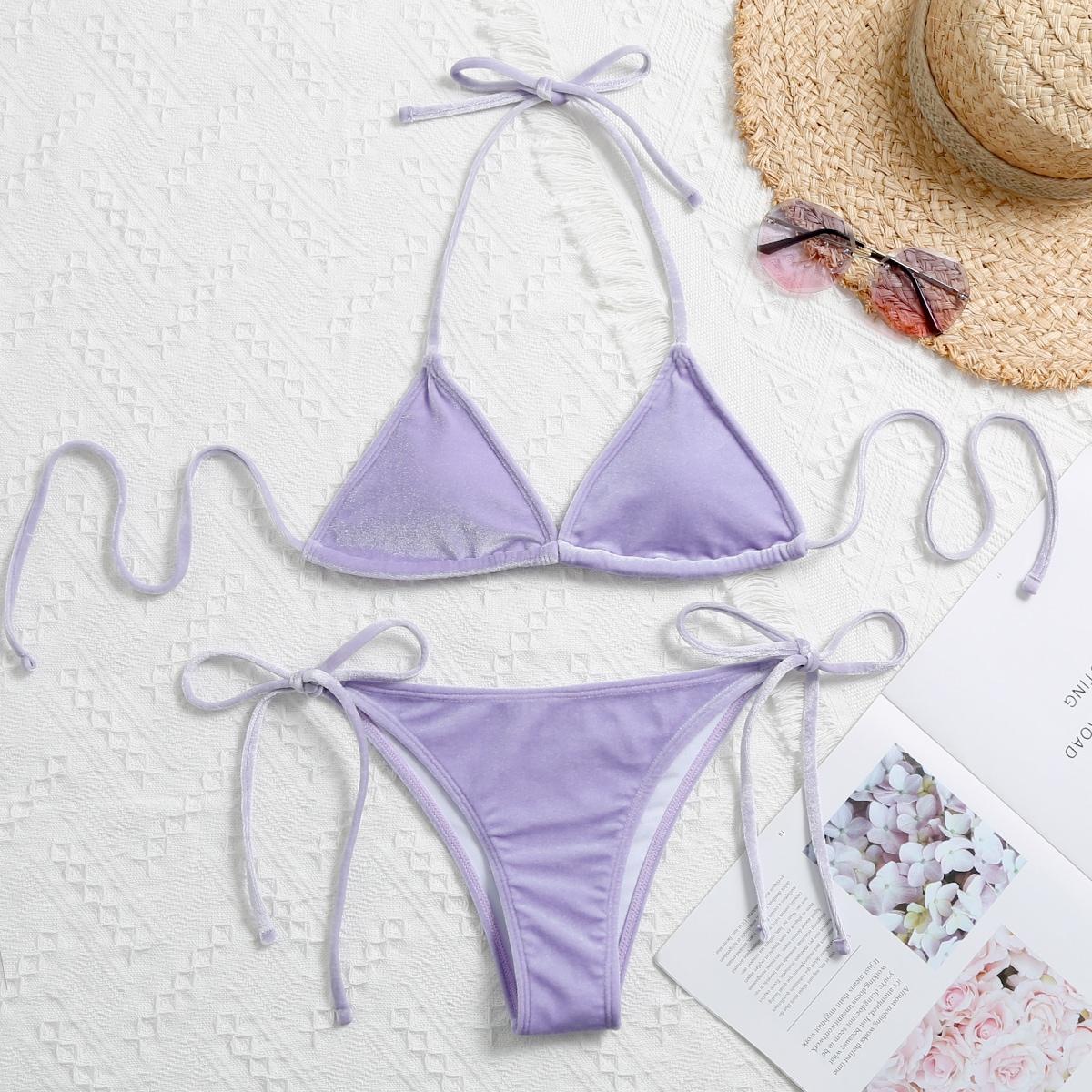 SHEIN / Velvet Triangle Tie Side Bikini Swimsuit