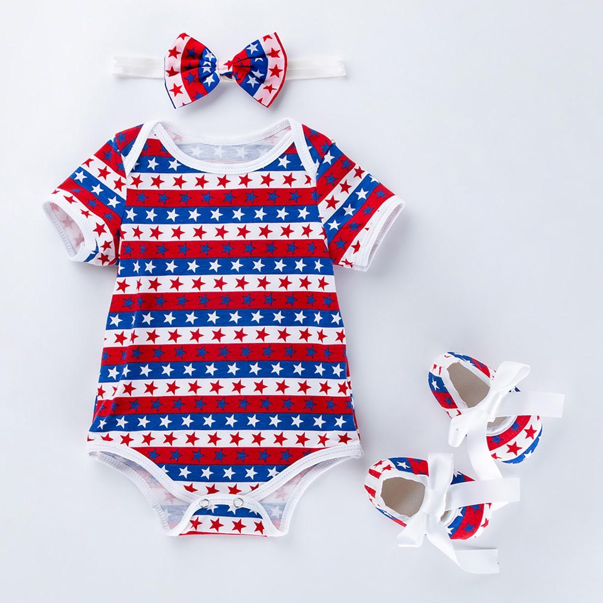 Боди с принтом американского флага, повязка на голову и туфли для мальчиков от SHEIN
