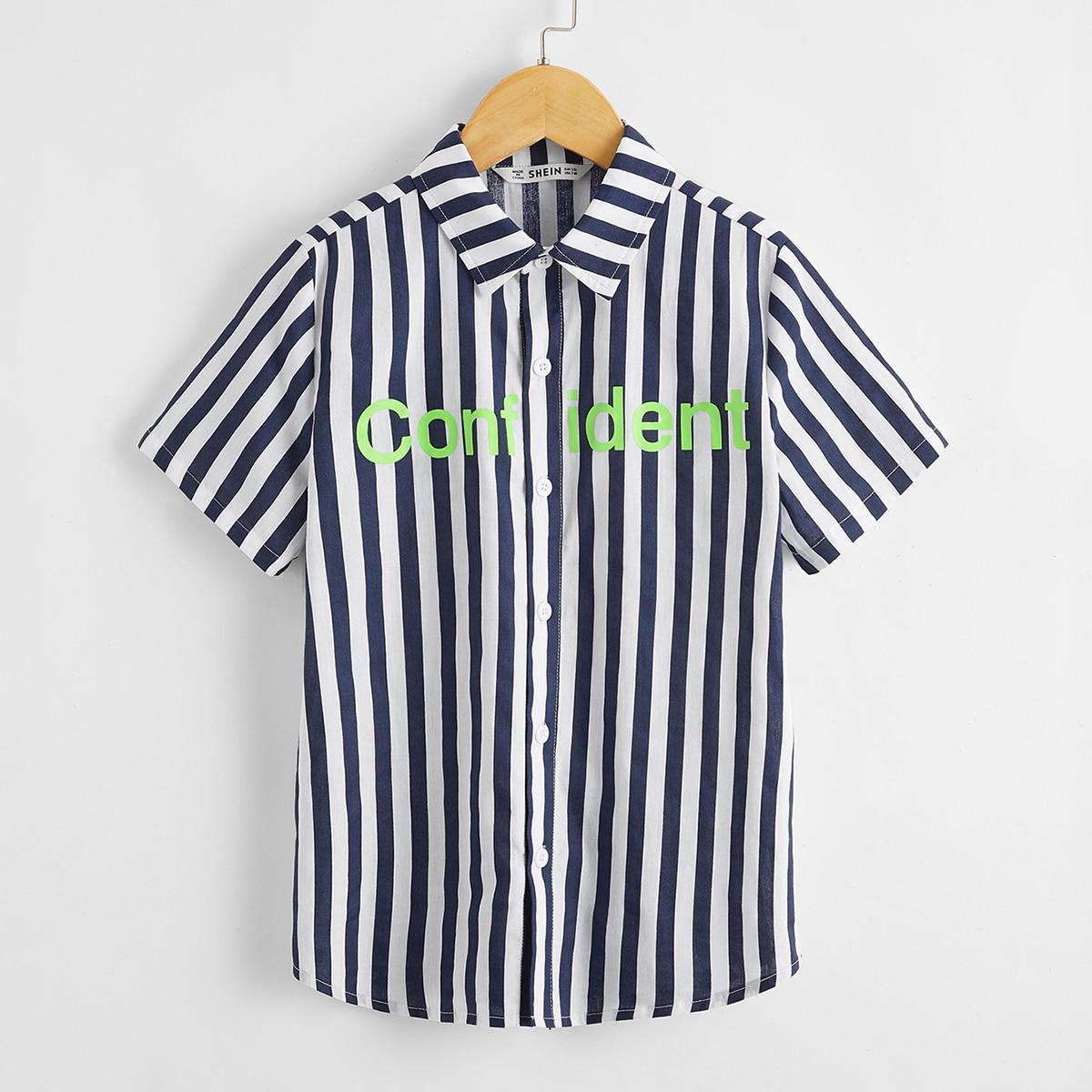Полосатая рубашка с текстовым принтом для мальчиков от SHEIN