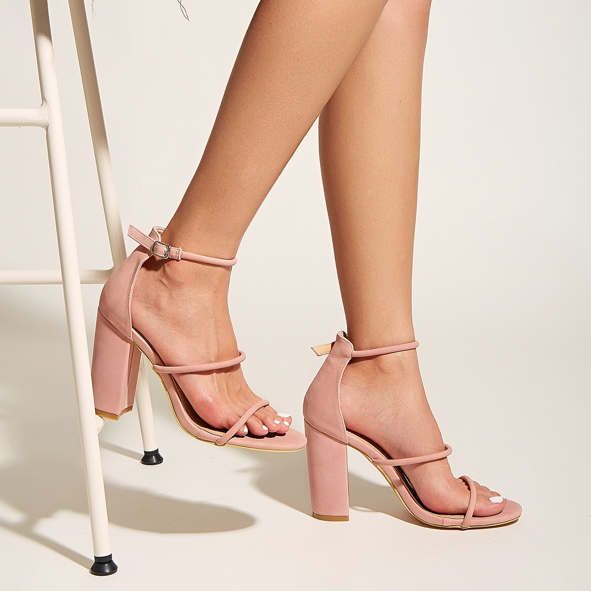 SHEIN / Thin Strap Ankle Strap Chunky Heeled Sandals