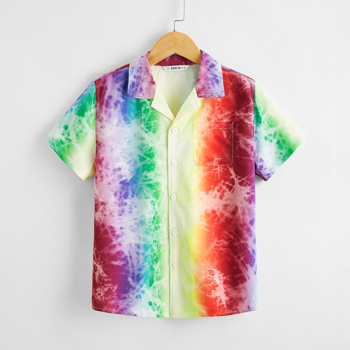 Разноцветная рубашка с карманом для мальчиков от SHEIN