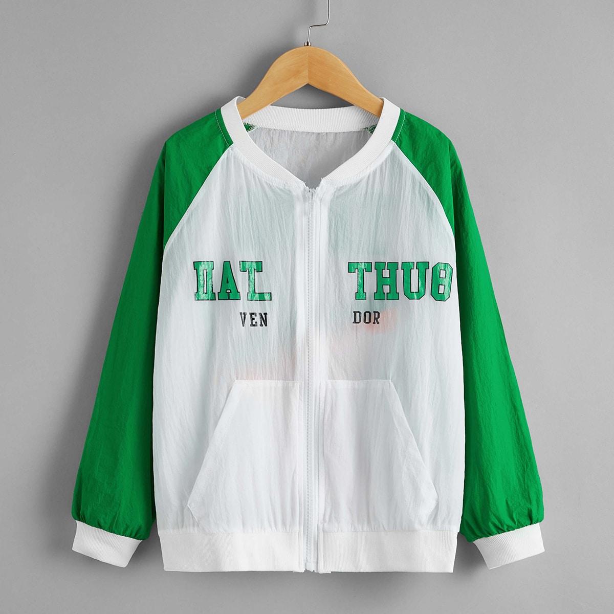 Куртка-бомбер с текстовым принтом и рукавом реглан для мальчиков от SHEIN