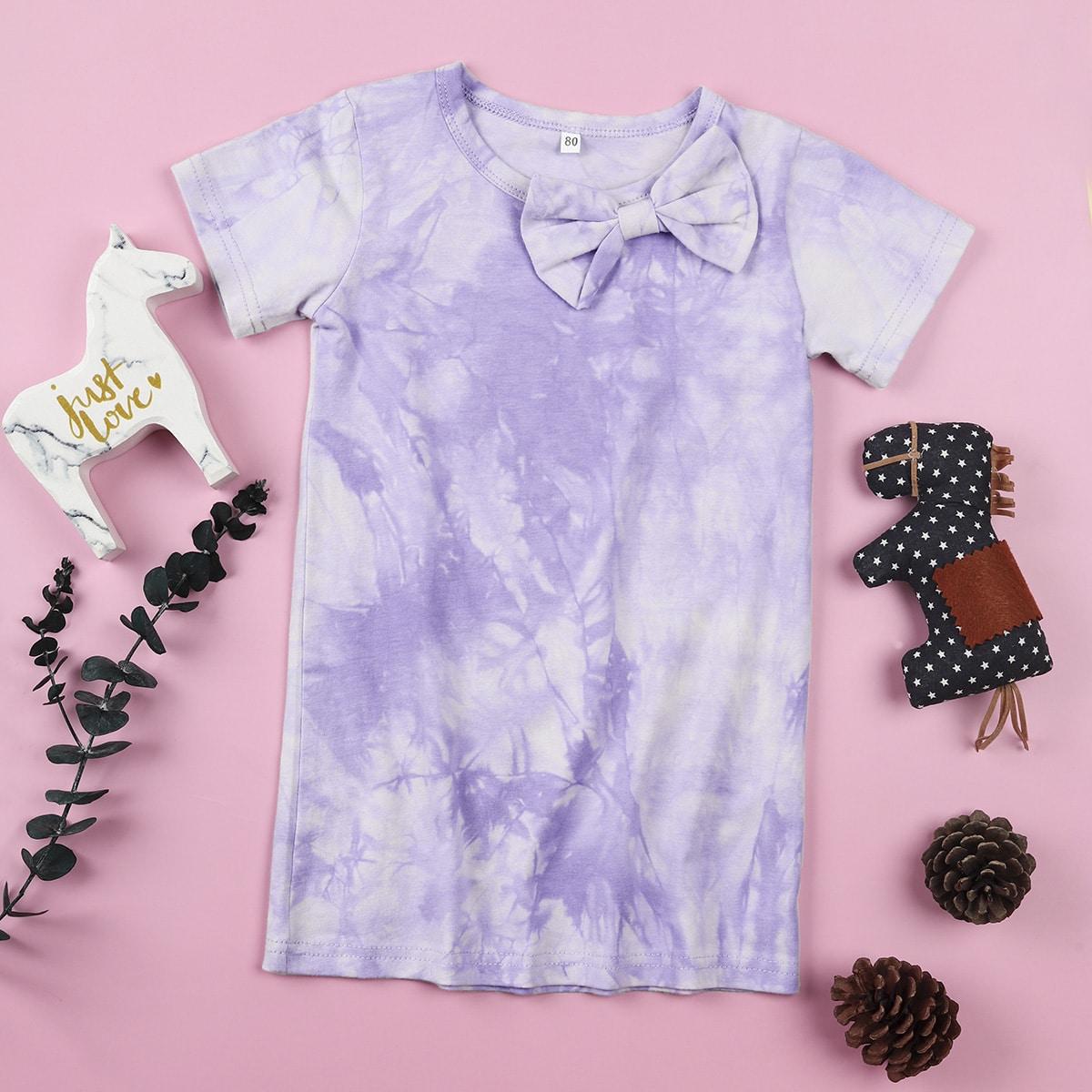 Разноцветное платье-футболка с бантом для девочек от SHEIN