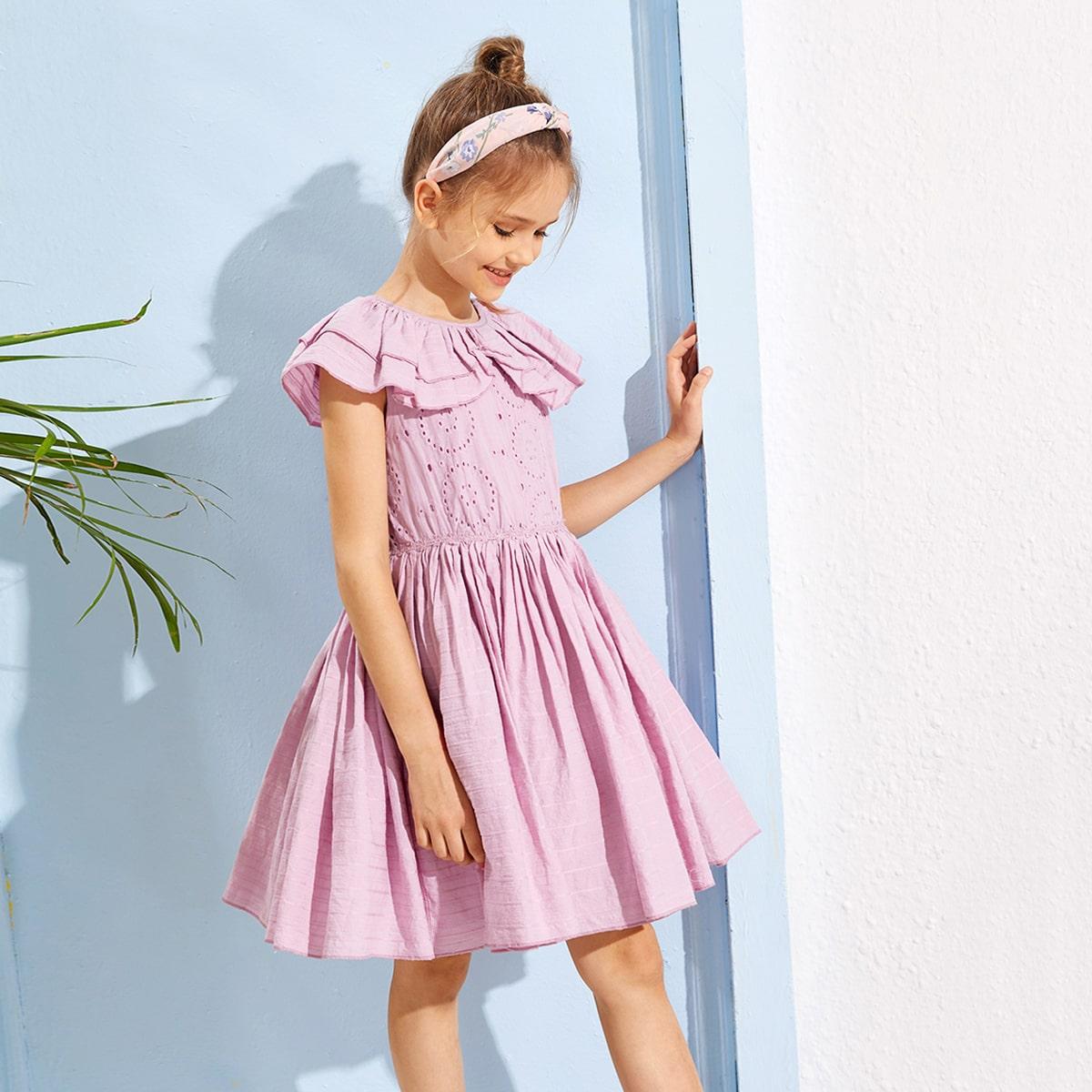 Оригинальное платье с оборкой для девочек от SHEIN