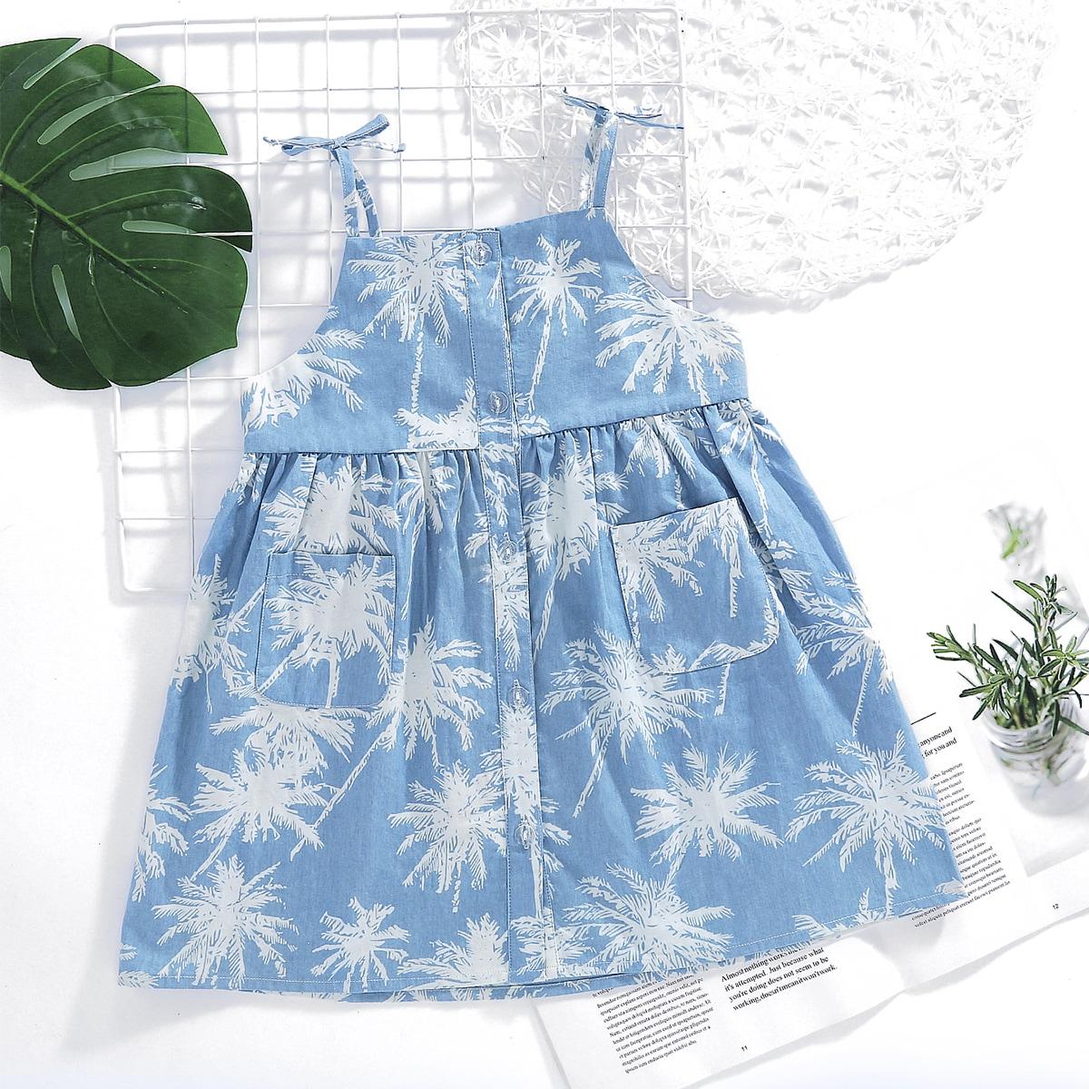 Джинсовое платье на бретелях с принтом для девочек от SHEIN