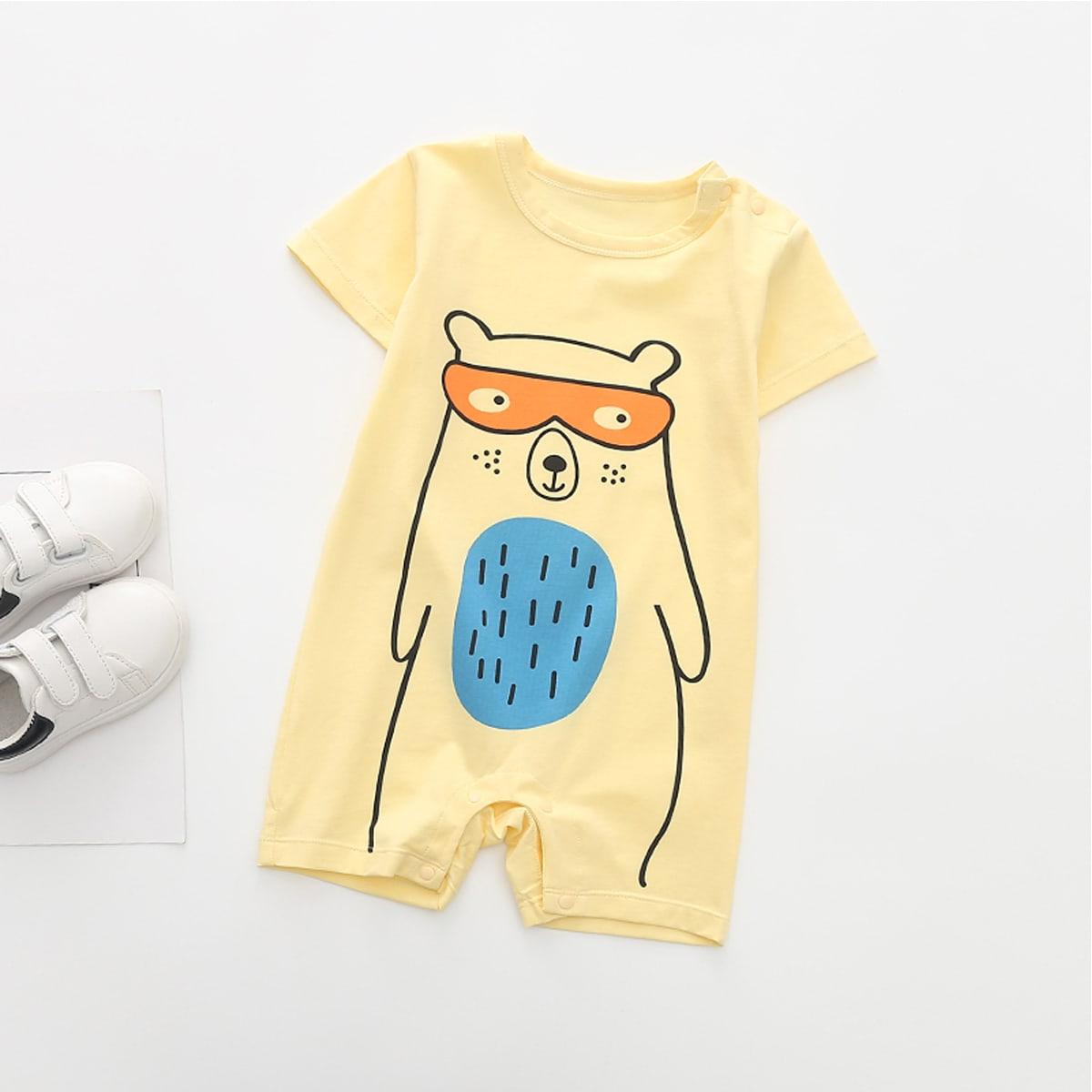 Комбинезон-футболка с мультипликационным принтом для мальчиков от SHEIN