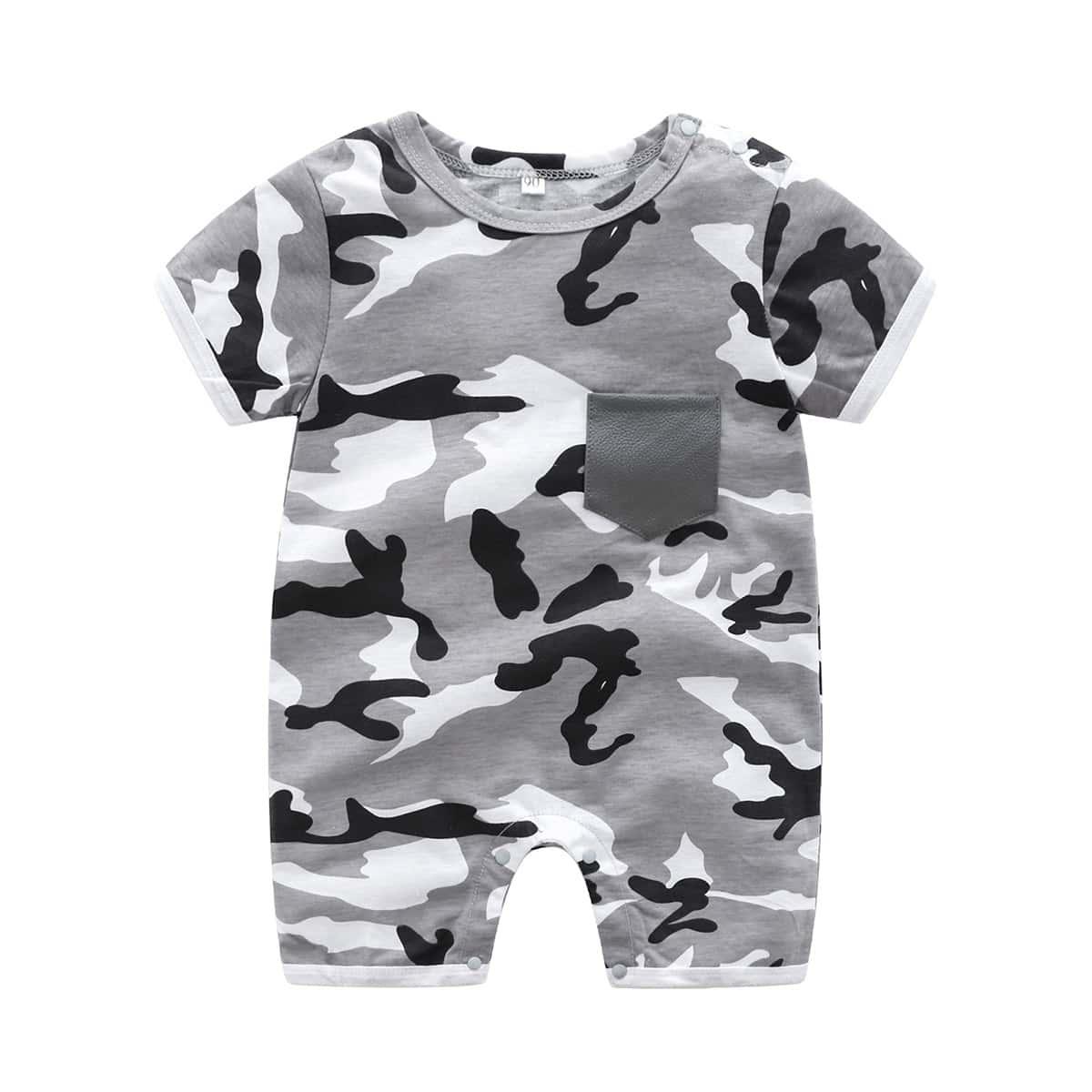 Многоцветный с карманами Камуфляж Повседневный Комбинезоны для мальчиков от SHEIN