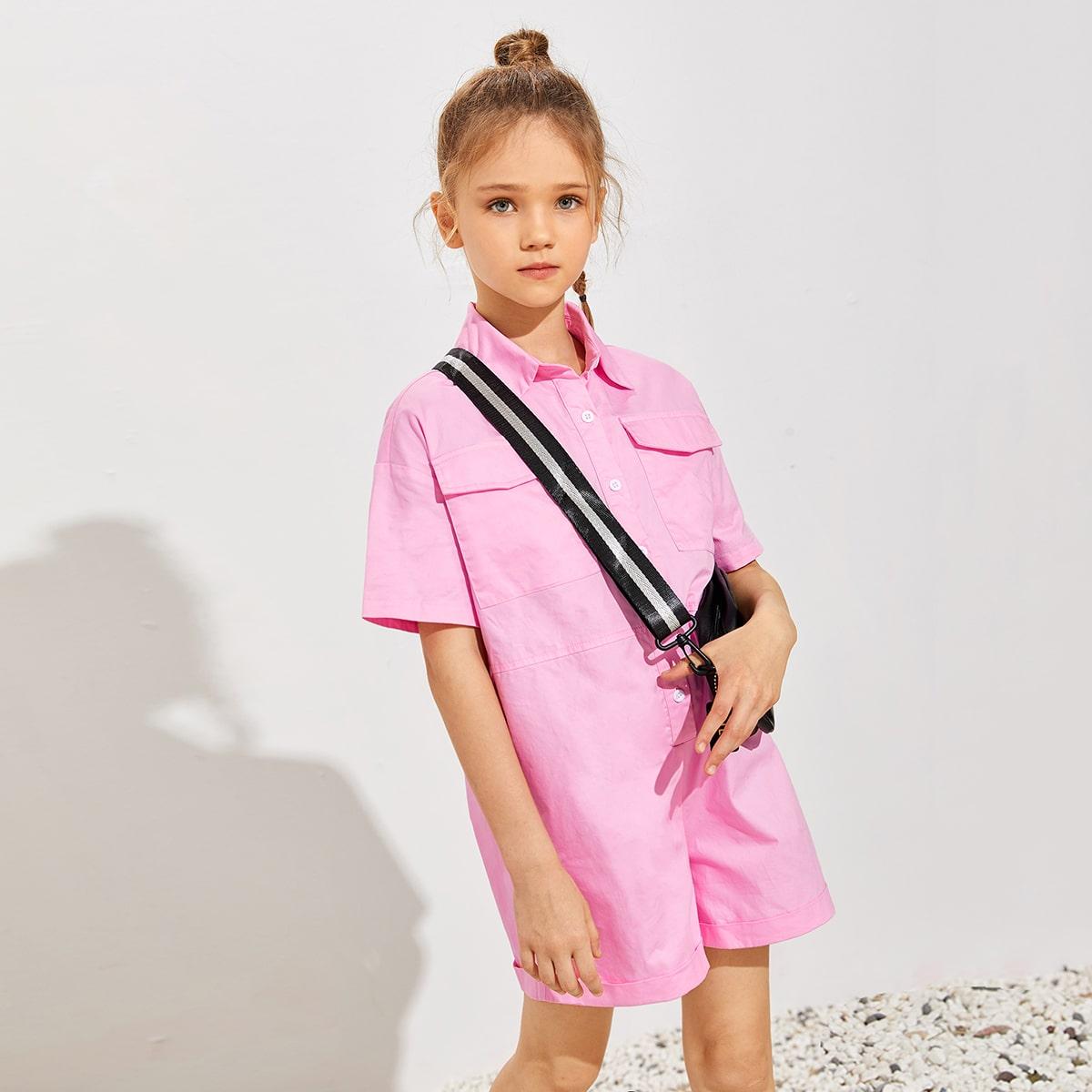 Комбинезон с карманом и пуговицами для девочек от SHEIN