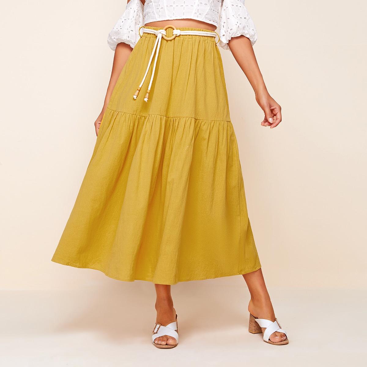 Расклешенная юбка с поясом и эластичной талией фото