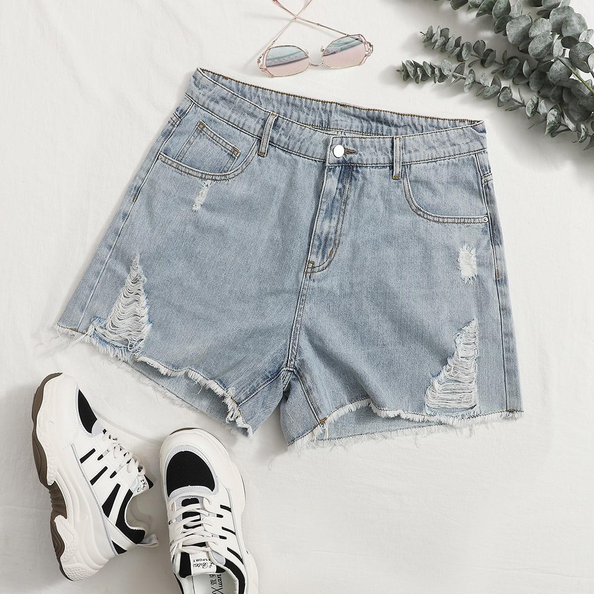 Рваные джинсовые шорты размера плюс фото