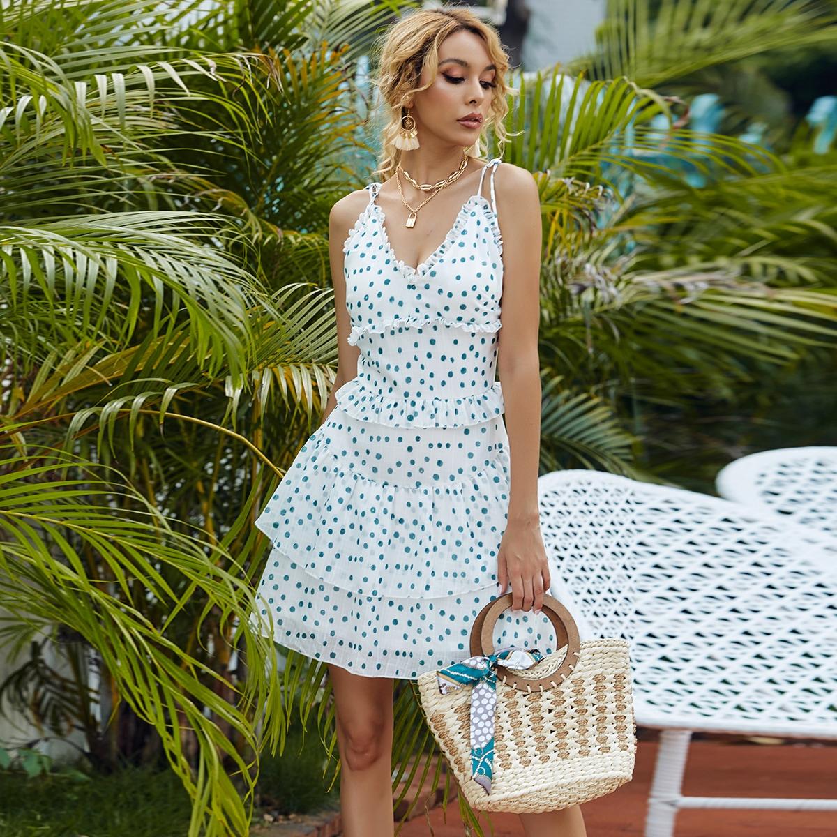 SHEIN / Mehrschichtiges Cami Kleid mit Raffung und Punkten Muster