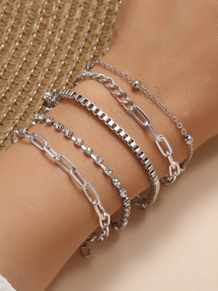 5pcs Rhinestone Decor Bracelet