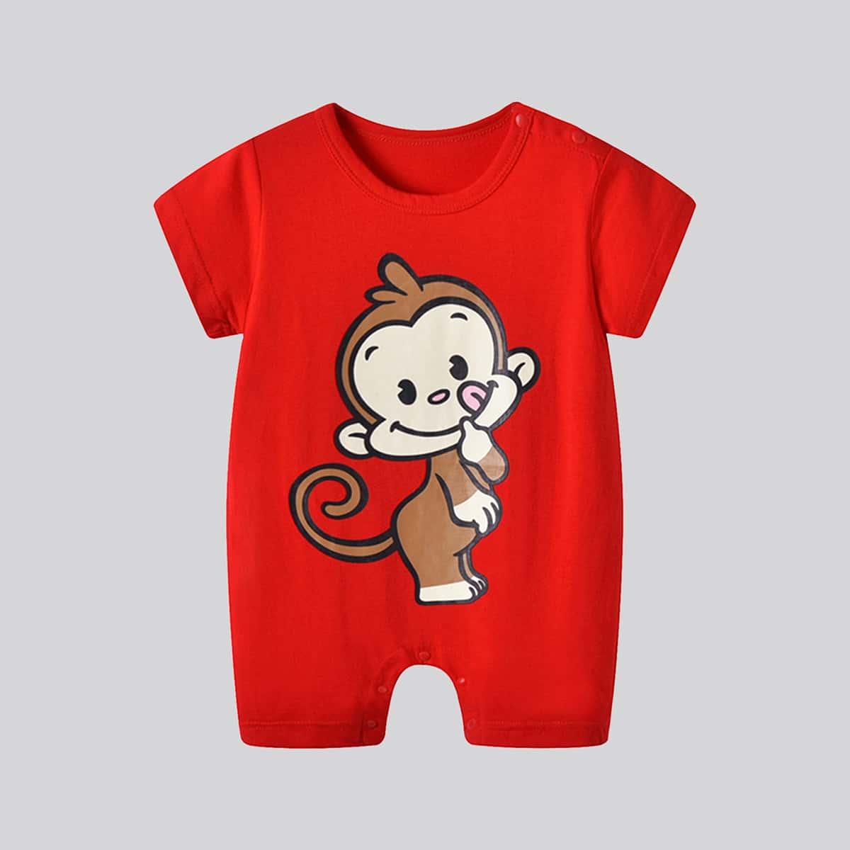 Комбинезон-футболка с принтом обезьяны для мальчиков от SHEIN