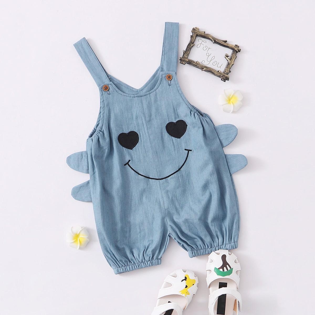 Джинсовый комбинезон с вышивкой сердечка для мальчиков от SHEIN