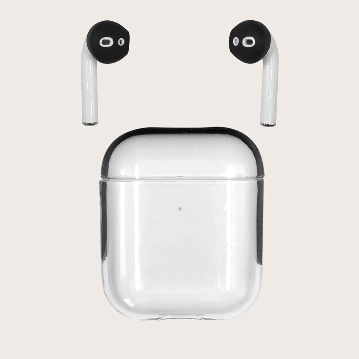 SHEIN / 1 Stück Transparente Airpods Hülle und 1 Paar Kopfhörerabdeckkappe