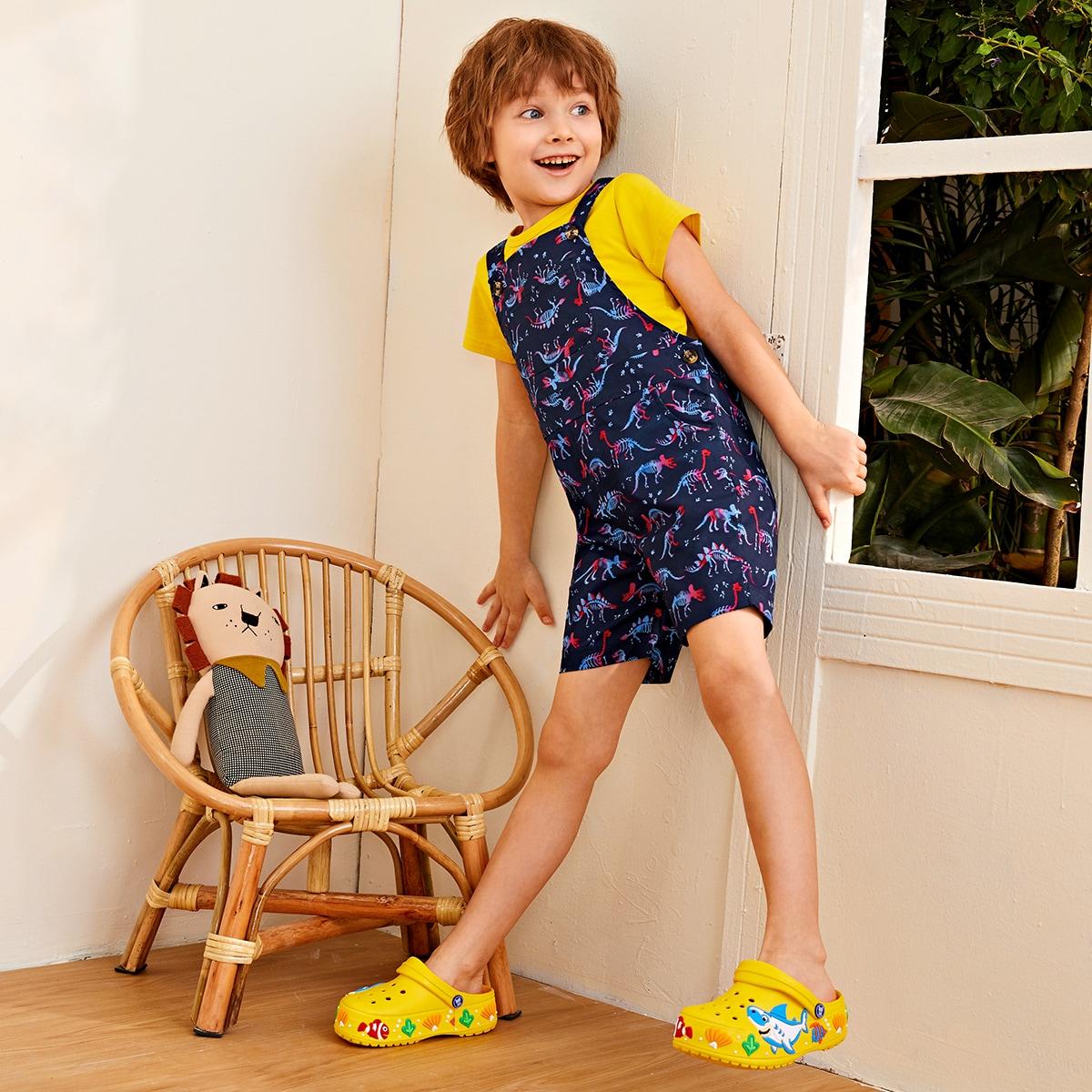 Комбинезон с карманом и принтом динозавра для мальчиков от SHEIN