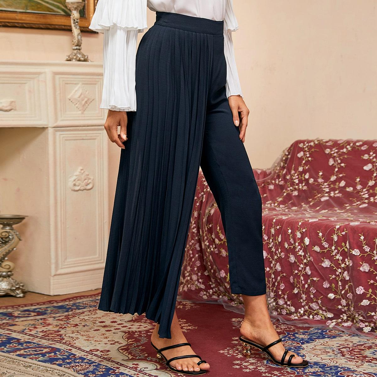 Плиссированные многослойные брюки фото