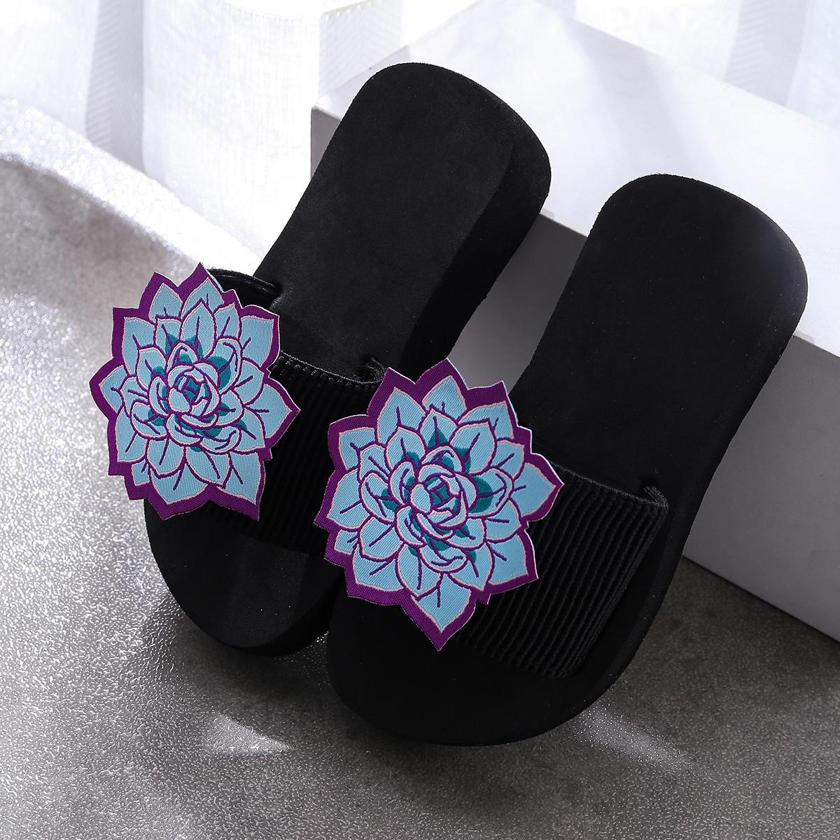 Шлепанцы с цветочной аппликацией для девочек от SHEIN