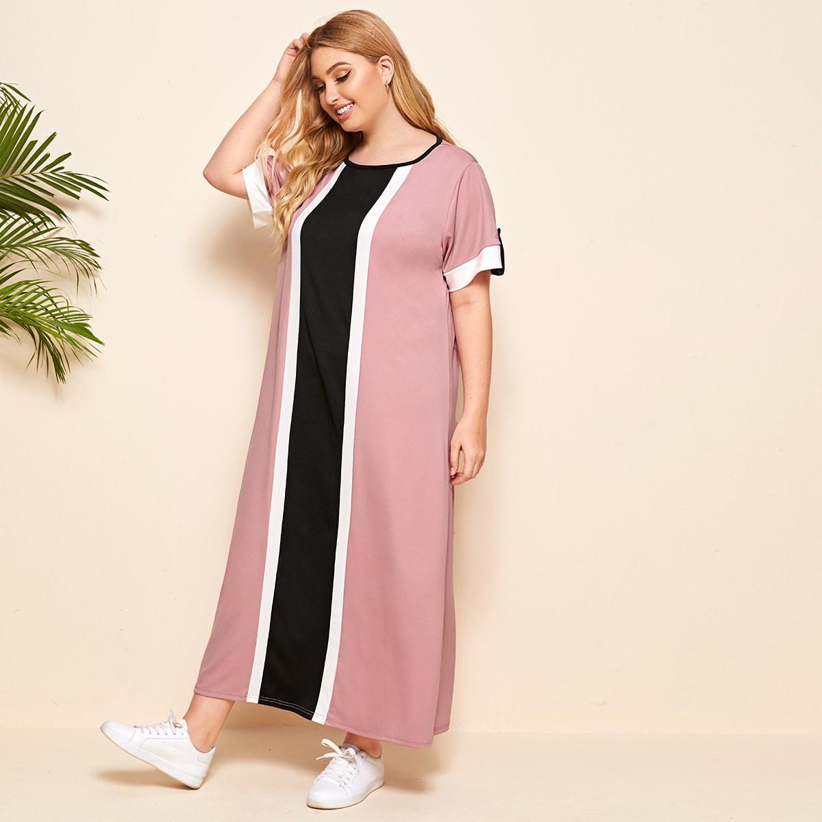 SHEIN / Tunika Kleid mit Kontrast Einsatz und gerollten Manschetten