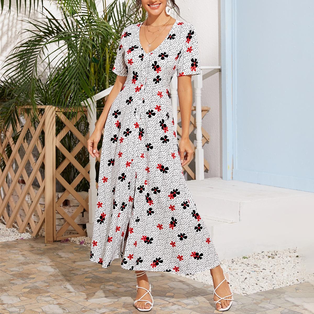 Платье с пуговицами, цветочным и далматинским принтом фото