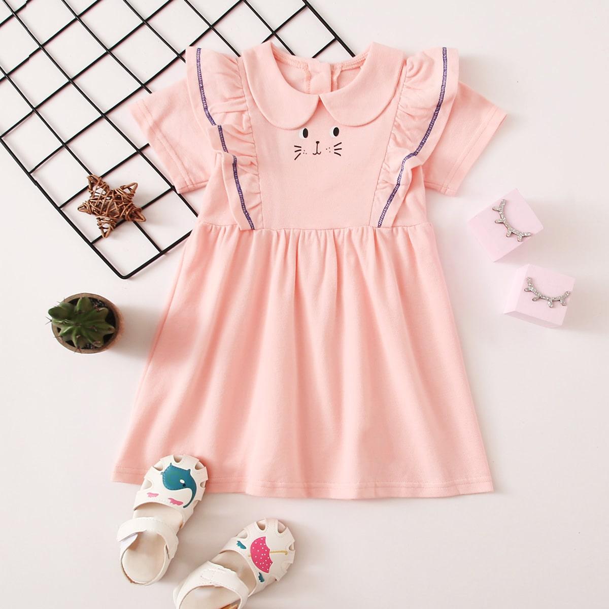Нежний Розовый с воланами Мультяшный принт милый Платья для малышей от SHEIN