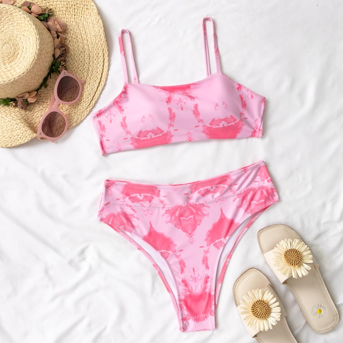 Розовый Галстуковый краситель милый Бикини фото