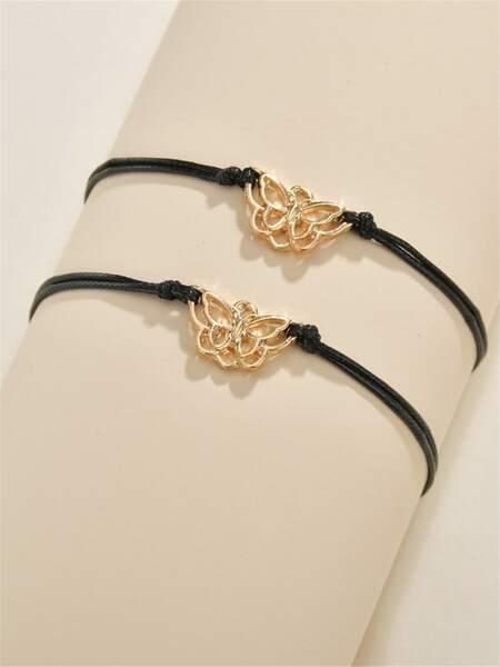 2pcs Butterfly Decor Bracelet