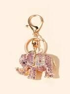 Rhinestone Decor Elephant Charm Keychain