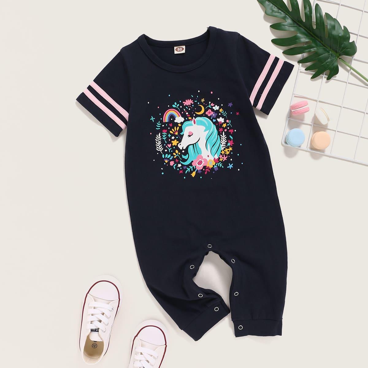 Темно-синий лента Со цветочками Повседневный Боди для малышей от SHEIN