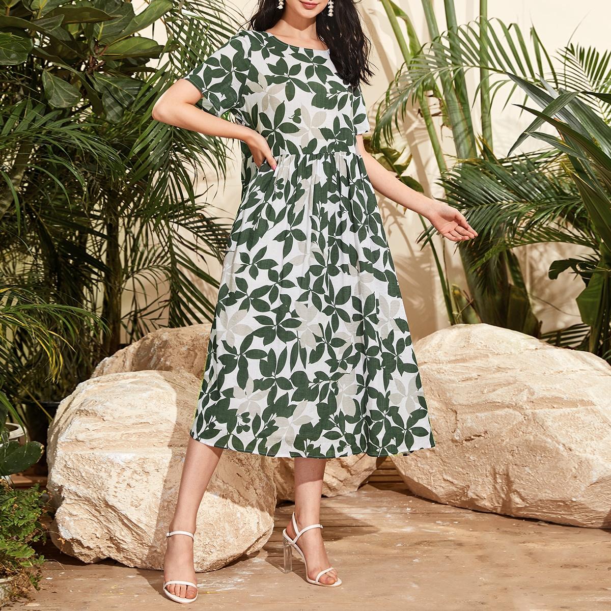 SHEIN / Floral Leaf Print Midi Dress