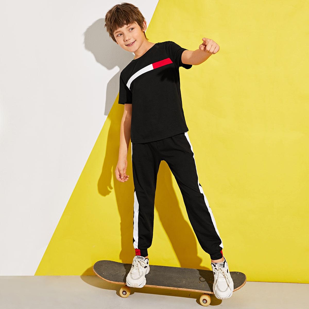 Контрастный топ и брюки для мальчиков от SHEIN