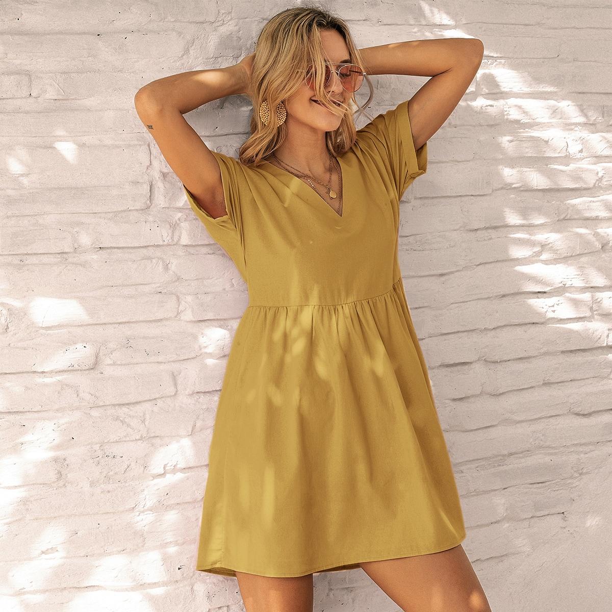 Горчично-желтый Одноцветный Повседневный Платья фото