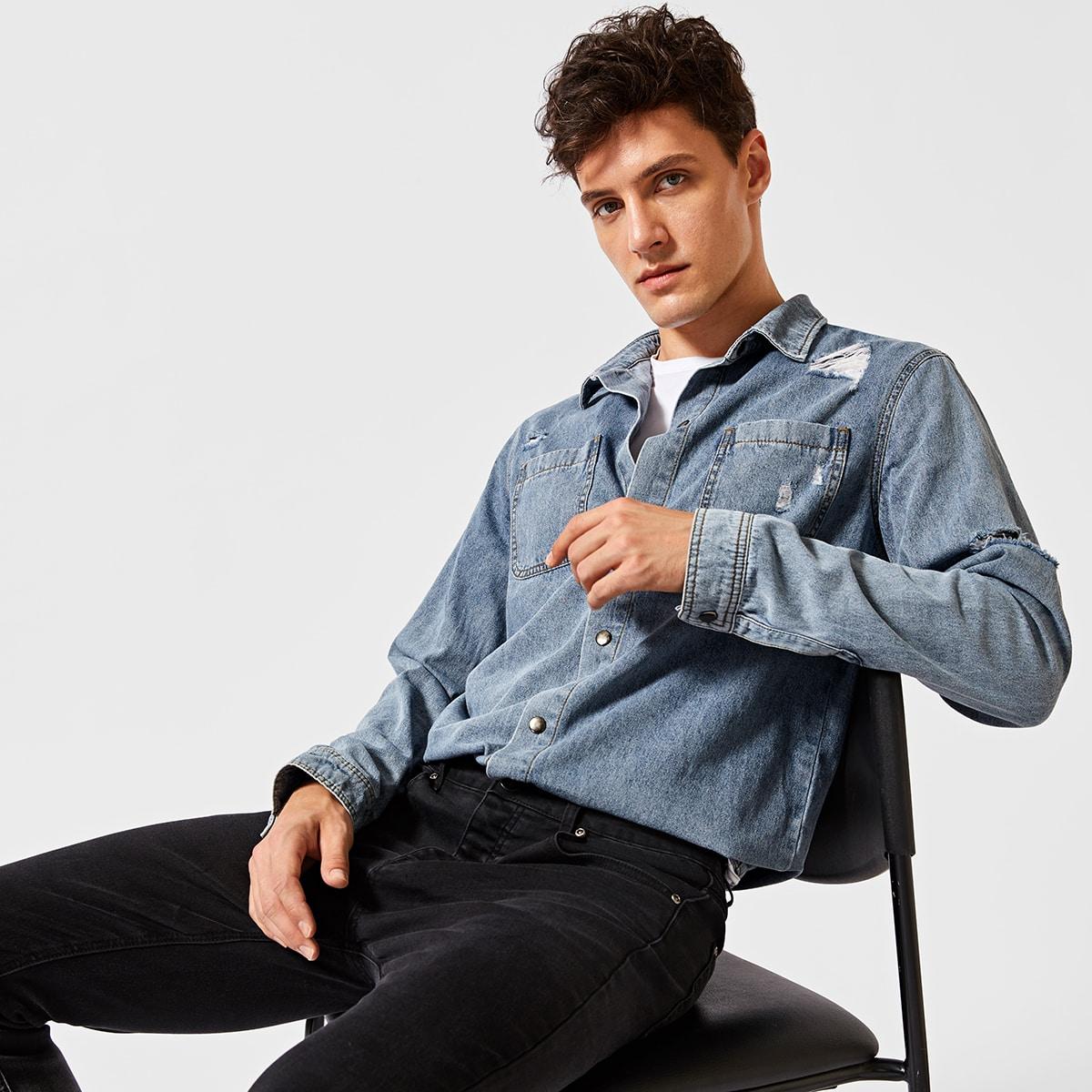 Легкий Синий Умывания Разрезы Одноцветный Повседневный Мужские джинсовые рубашки фото