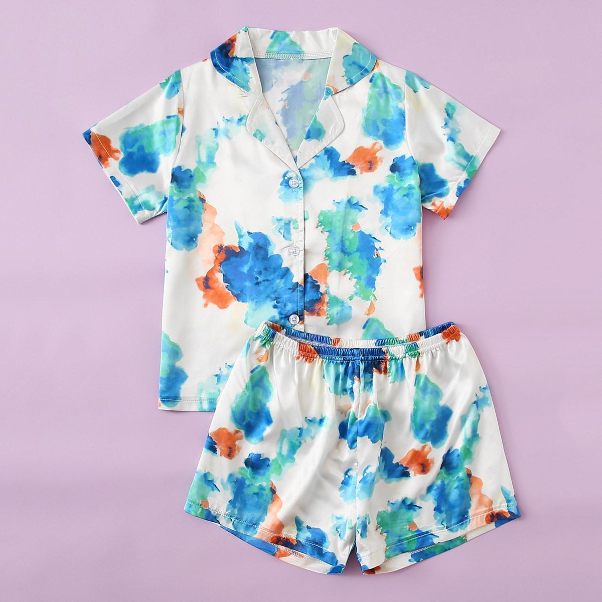 многоцветный Однобортный Галстуковый краситель Повседневный Домашняя одежда для девочек от SHEIN