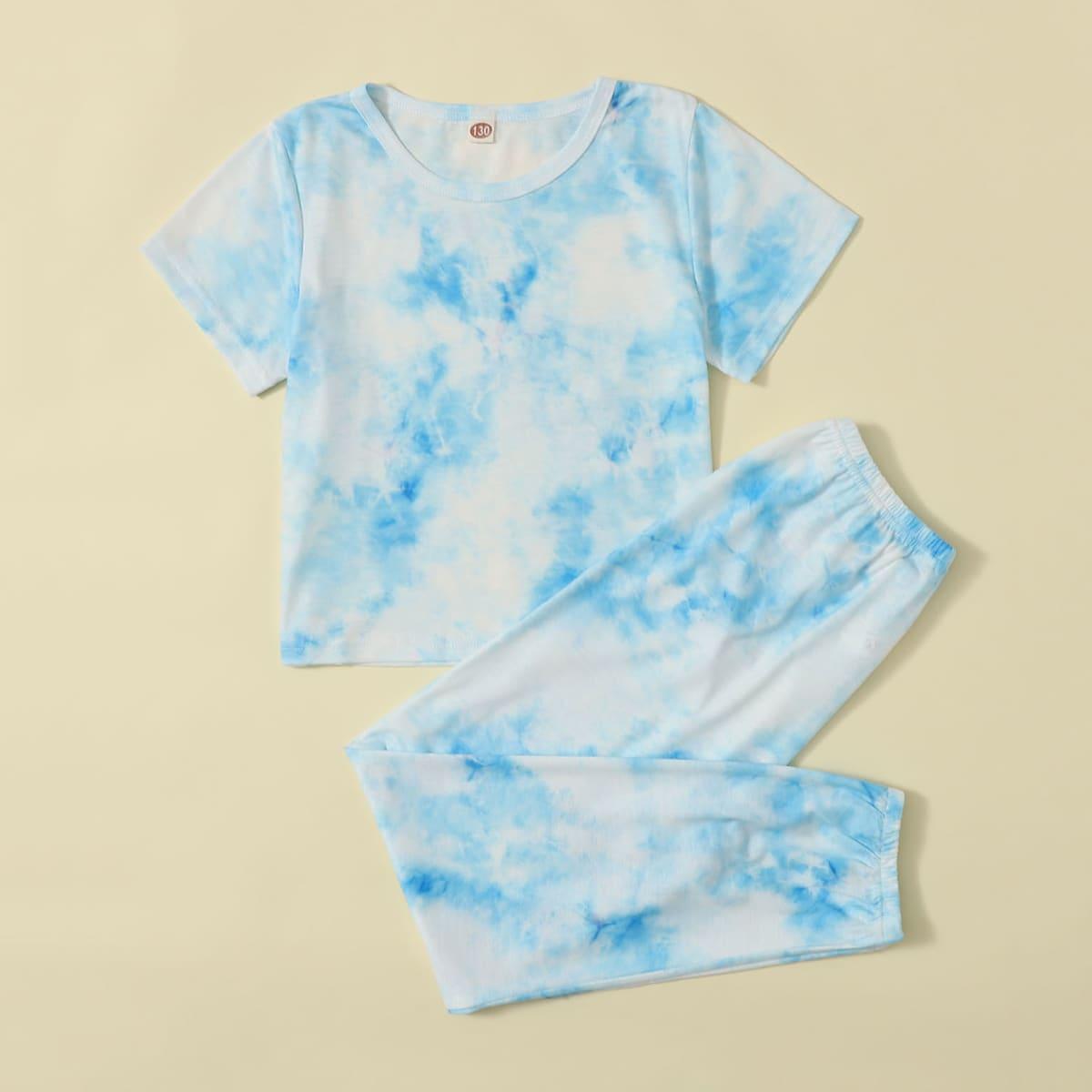 многоцветный Галстуковый краситель Повседневный Домашняя одежда для девочек от SHEIN