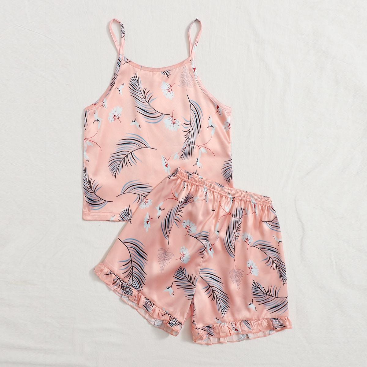 Нежний Розовый Низ-оборка Животный принт милый Домашняя одежда для девочек фото