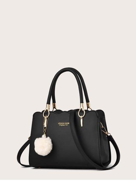 Faux Leather Scalloped Handbag