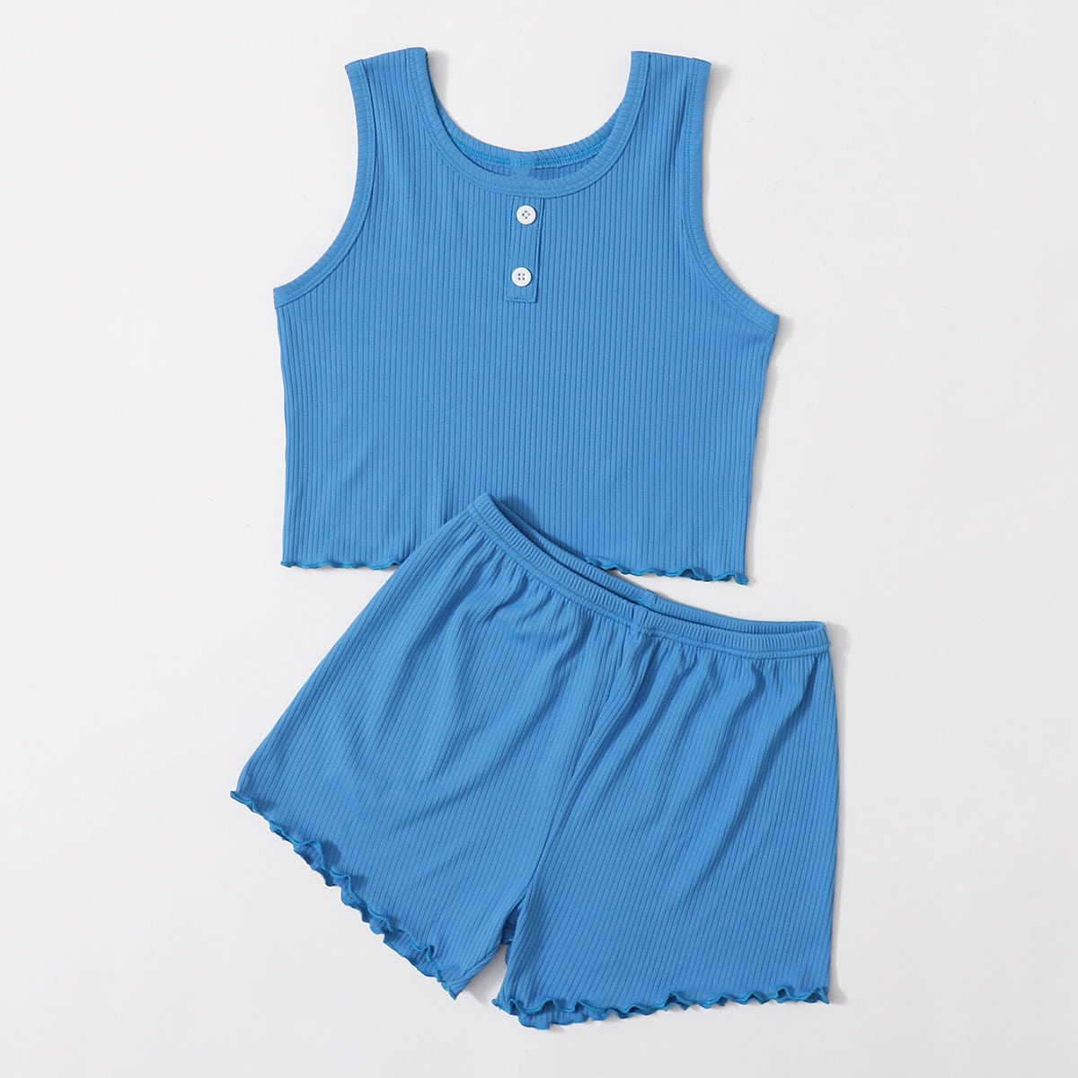 Синие Декоративный край Одноцветный Повседневный Домашняя одежда для девочек от SHEIN