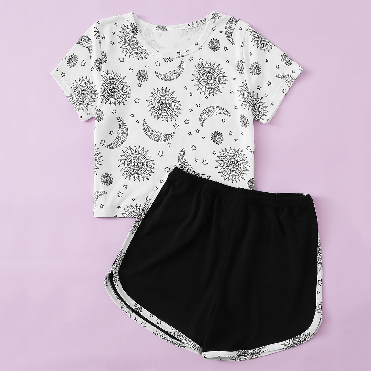 Чёрнобелые Контрастная отделка графический принт Повседневный Домашняя одежда для девочек от SHEIN