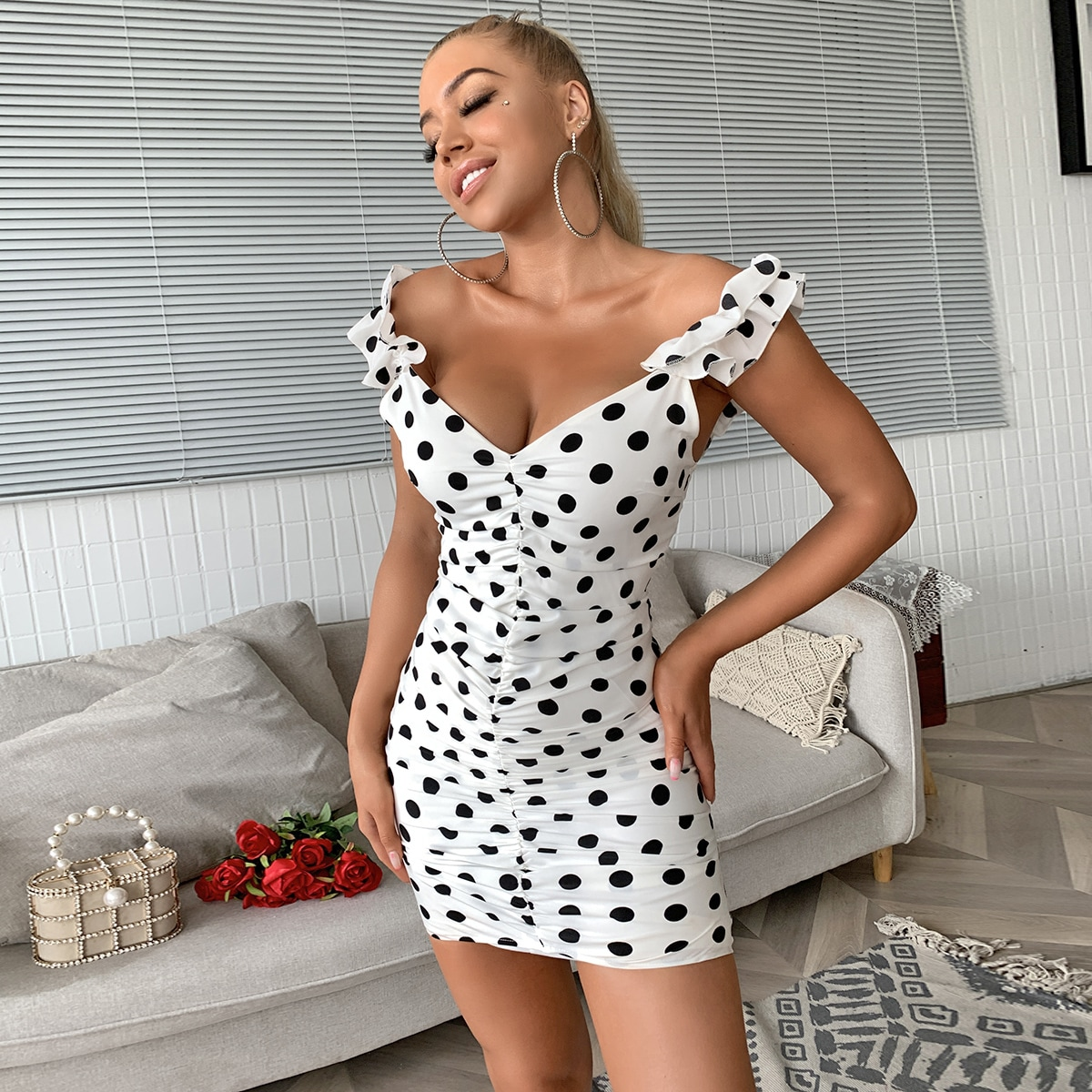Joyfunear Платье в горошек с оборками фото