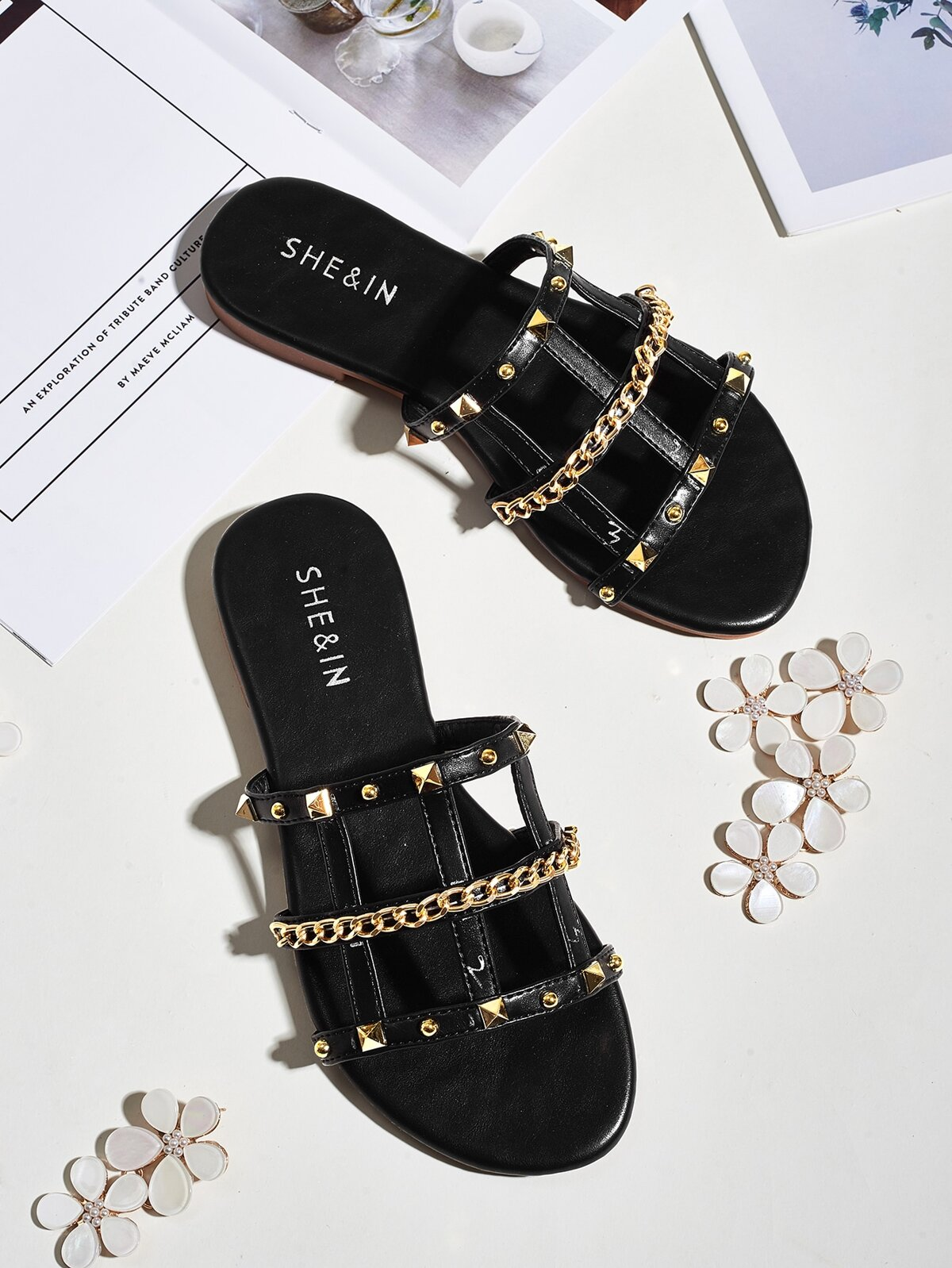 Studded & Chain Decor Flat Sandals