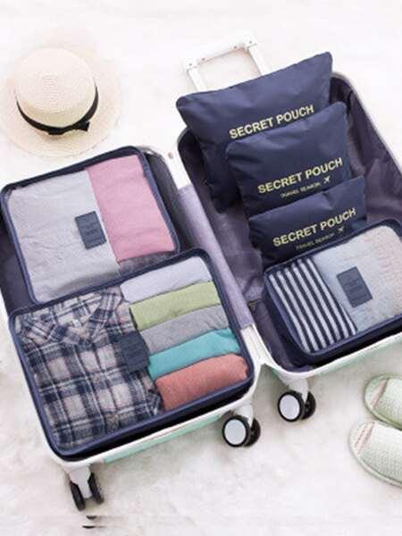 6pcs Slogan Graphic Travel Storage Bag