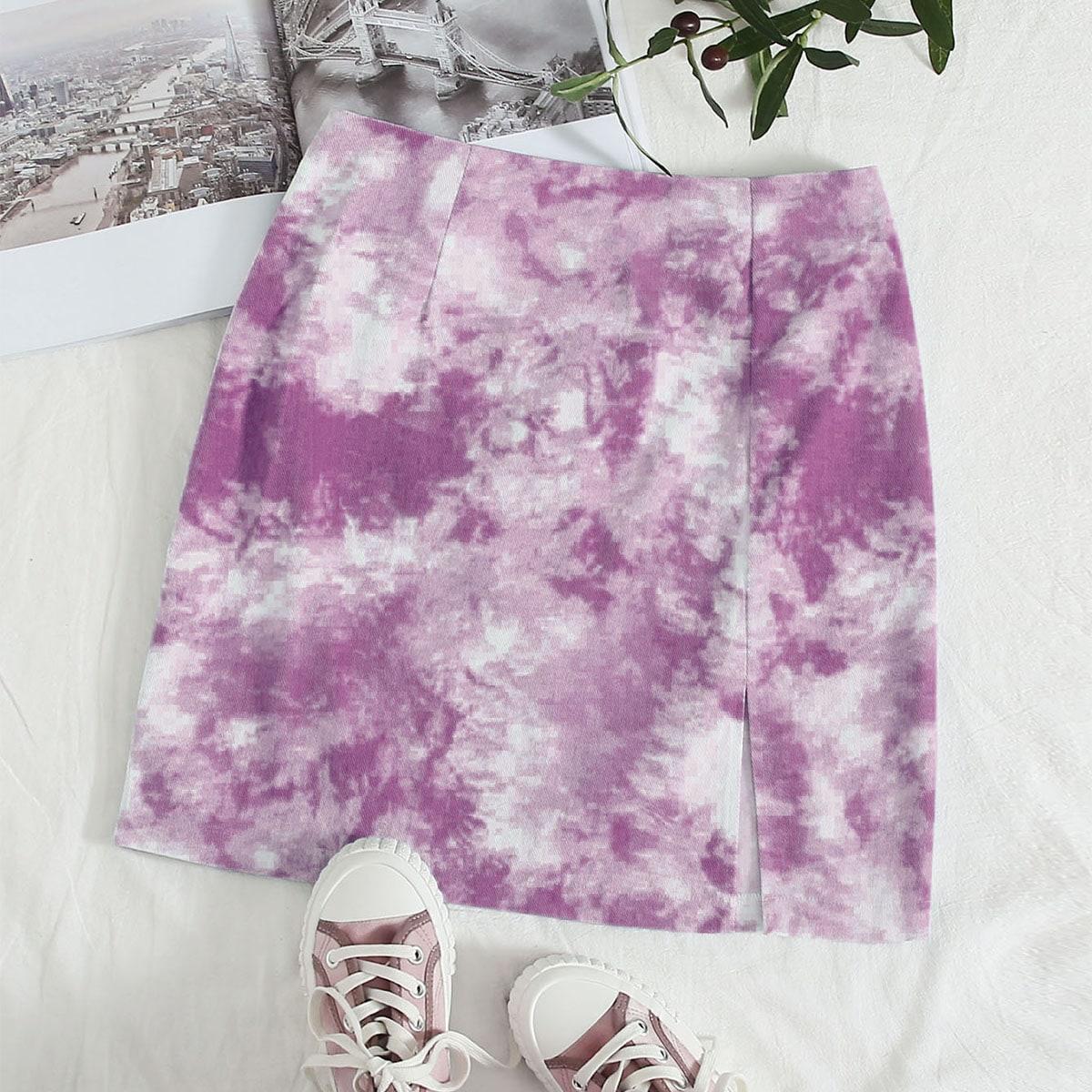 Разноцветная юбка с молнией сзади фото