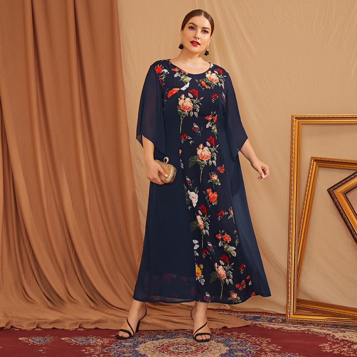 Темно-синий Цветочный Повседневный Платья размер плюс фото
