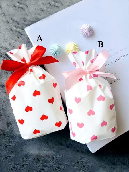 10pcs Heart Print Packaging Bag