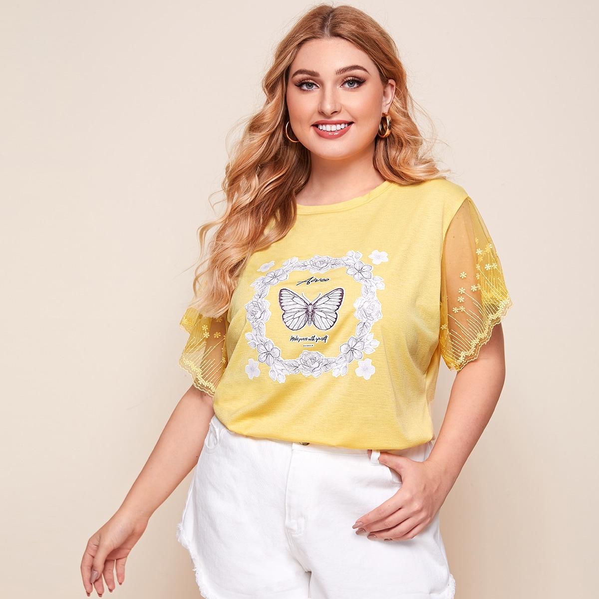 Жёлтые Контрастная сетка Со цветочками Повседневный Размер плюс футболка фото