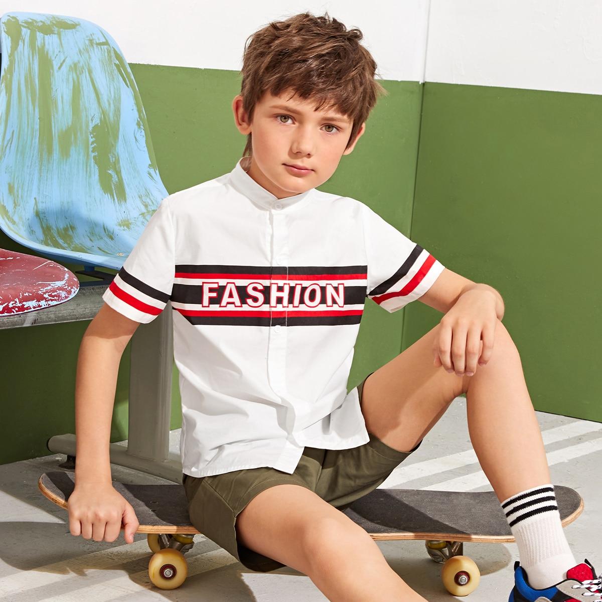 Рубашка с полосками и текстовым принтом для мальчиков от SHEIN