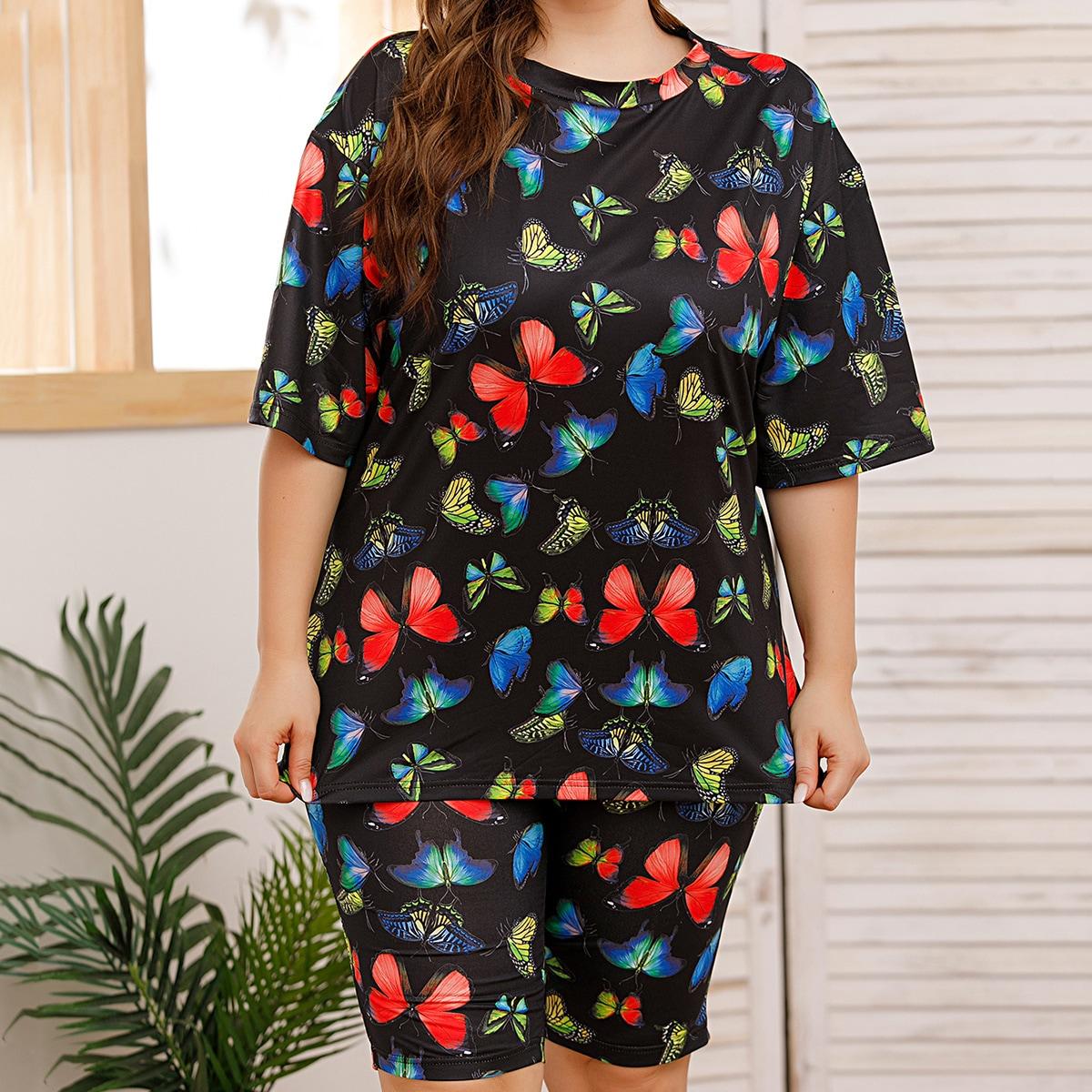 Чёрный Животный принт Повседневный Пижама размер плюс фото