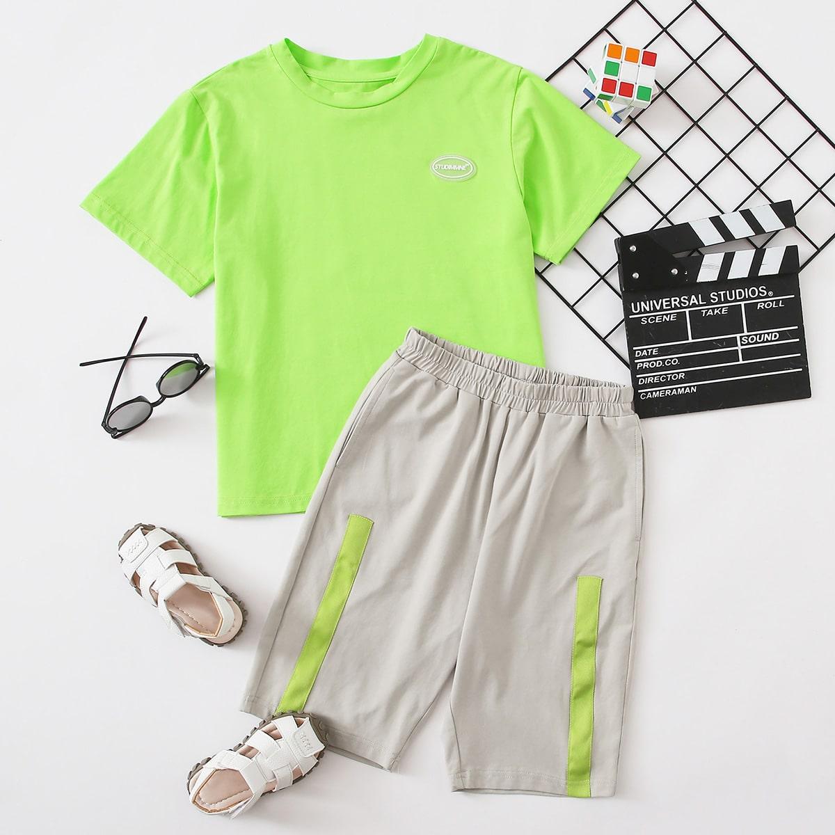 Многоцветный Карман Текст Спортивный Комплекты для мальчиков от SHEIN