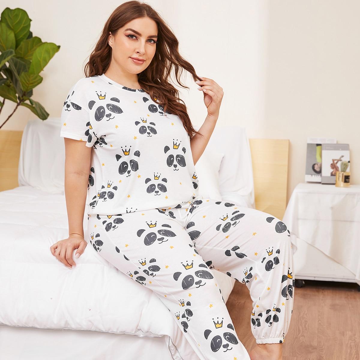 Белый Мультяшный принт милый Пижама размер плюс фото